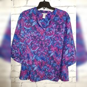 Catherines Paisley  print blouse size 3x w petitte